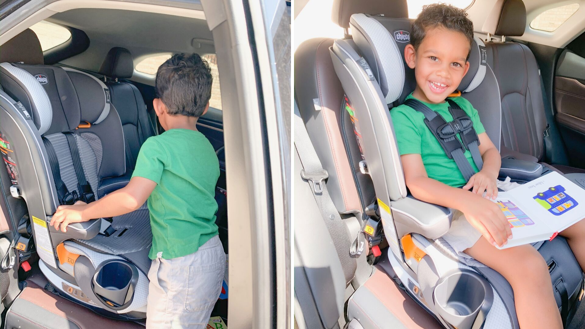 Toddler in Chicco My Fit Zip Car Set