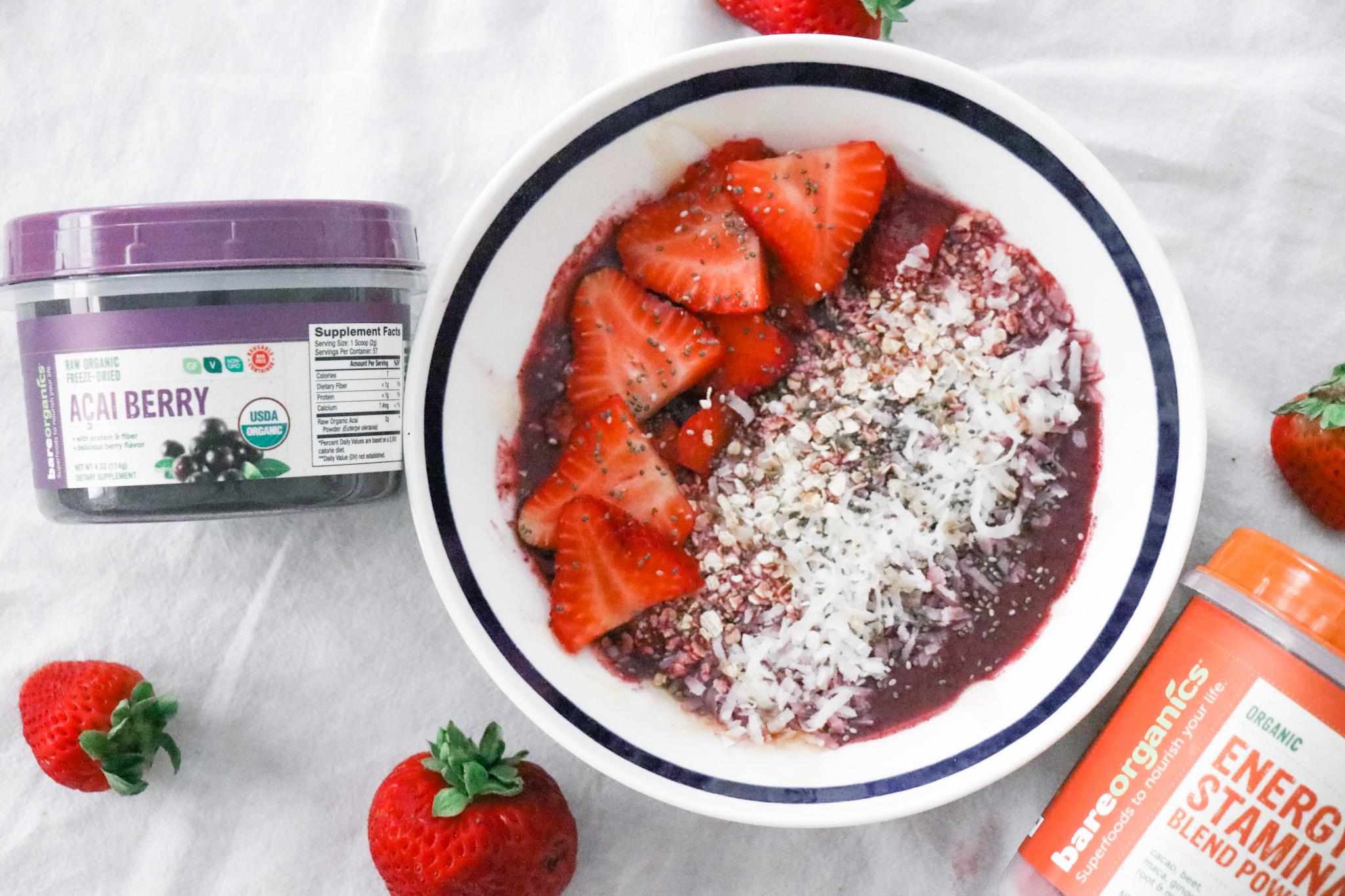 Açaí bowl, strawberries, kate spade bowl