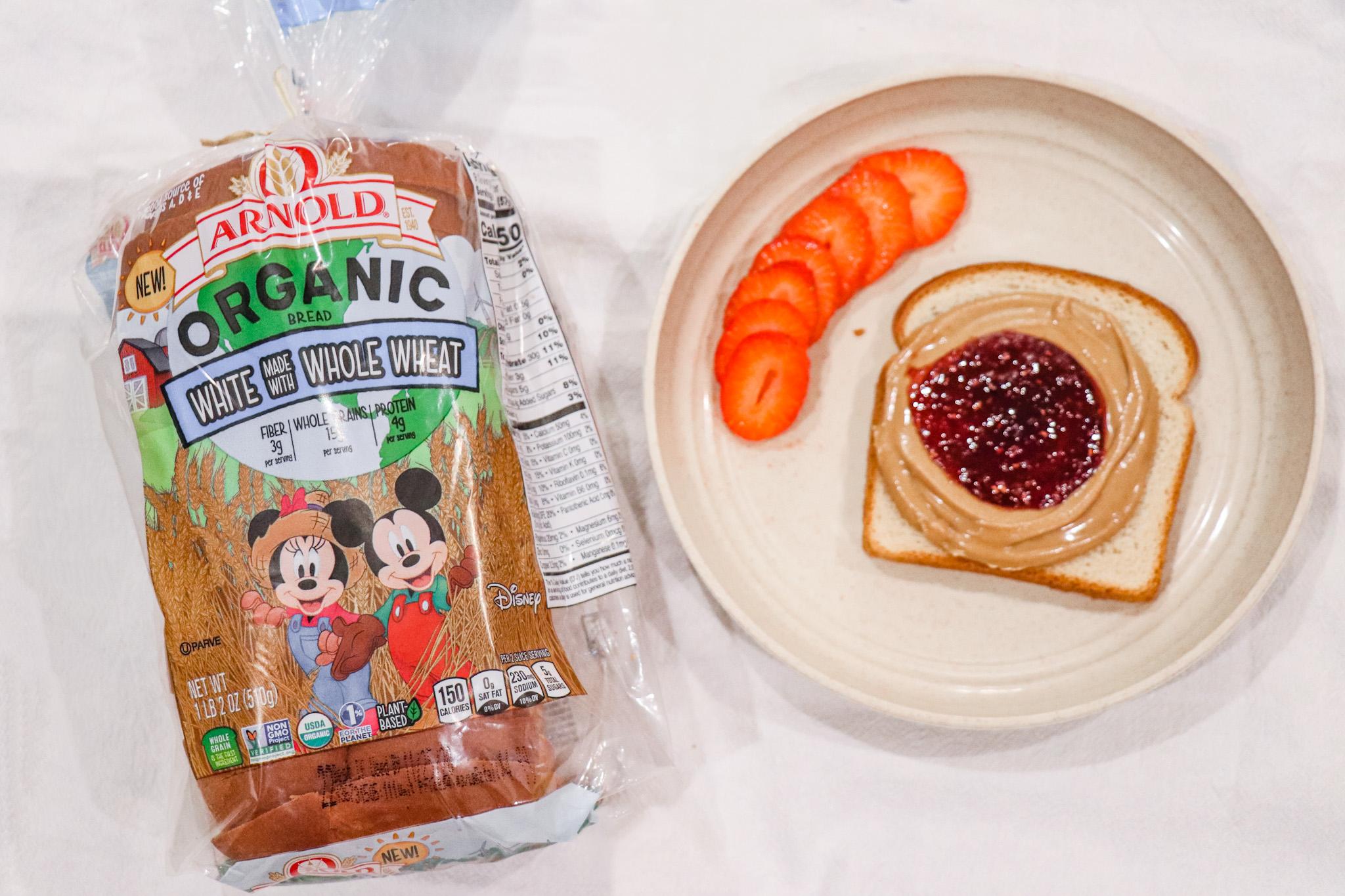 Arnold Bread Whole Wheat White Bread - Peanut Butter Jelly Sandwiches